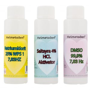 3 bottles Sodiumchlorite (one bottle for free), 3 bottles hydrochloric acid 4% & 3 bottles DMSO